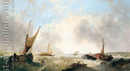 Fishing boats on the medway by Alfred Montague - Reproduction Oil Painting