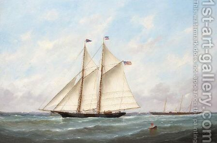 Boats of Le Havre by Edmond Victor Charles Adam - Reproduction Oil Painting