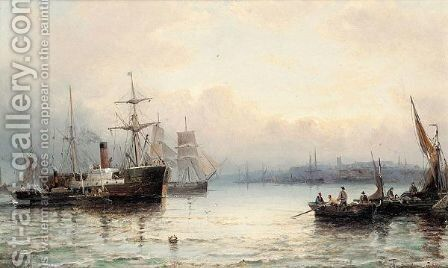 Harbour scene with steamboat by Hubert Thornley - Reproduction Oil Painting