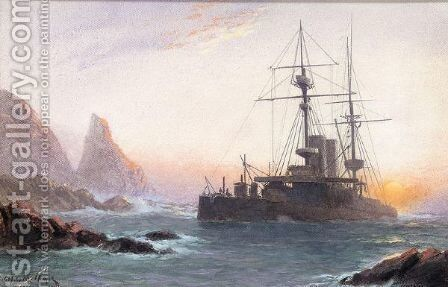 HMS Montague ashore on lundy island by James Millar - Reproduction Oil Painting