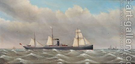 The S.S. Manora in high seas by David Dixon - Reproduction Oil Painting