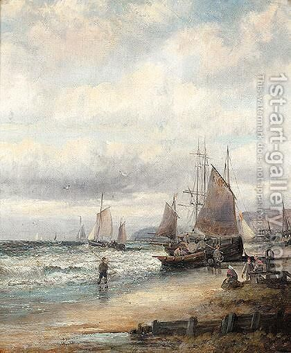 Beach scene by Hubert Thornley - Reproduction Oil Painting