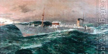 The E C.S. Faraday in a gale, 1929 by Charles Edward Dixon - Reproduction Oil Painting