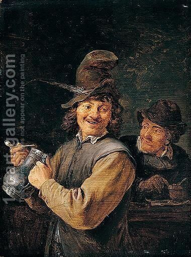A Peasant holding a large stoneware flagon by David The Younger Teniers - Reproduction Oil Painting