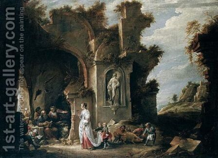 The temptation of Saint Anthony by David The Younger Teniers - Reproduction Oil Painting