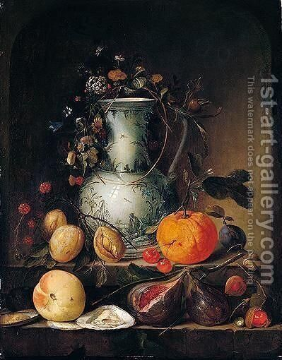 Still life of a blue and white porcelain vase, with garland of flowers by Jan Davidsz. De Heem - Reproduction Oil Painting