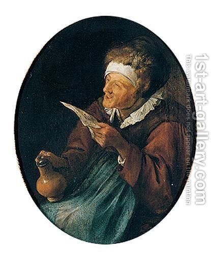 An old woman singing and holding a beer jug by Jan Havicksz. Steen - Reproduction Oil Painting