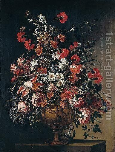 A still life of various flowers in an ormolu vase with putti by dei Fiori (Nuzzi) Mario - Reproduction Oil Painting