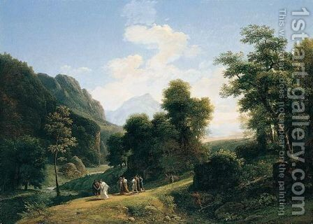 A classical landscape with Marius fleeing Rome at the approach of Sylla by Jean-Victor Bertin - Reproduction Oil Painting