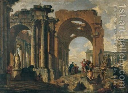 An architectural capriccio with figures discoursing amon roman ruins by Giovanni Paolo Panini - Reproduction Oil Painting