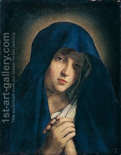 The madonna at prayer (Knows as the 'Mater Dolorosa') by (after) Giovanni Battista Salvi, Il Sassoferrato - Reproduction Oil Painting