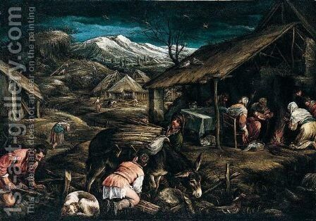 A Mountainous landscape with peasants gathering firewood by (after) Jacopo Bassano (Jacopo Da Ponte - Reproduction Oil Painting