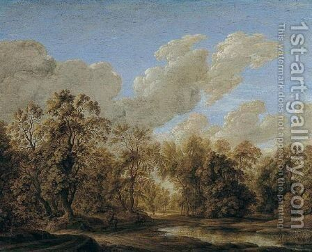 A landscape with a pond at the margin of wood by Alexander Keirincx - Reproduction Oil Painting