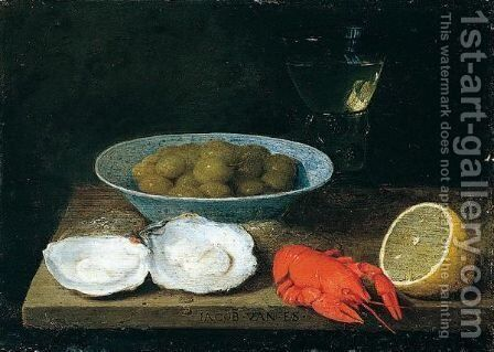 A still life of green olives in a blue and white porcalein bowl by Jacob Foppens Van Es - Reproduction Oil Painting