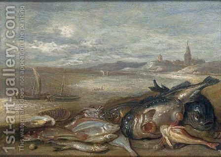 A still life of various fish and crustaceans on a bech by Jan van Kessel - Reproduction Oil Painting