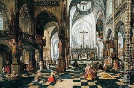 Interior of a church by (after) Abel Grimmer - Reproduction Oil Painting