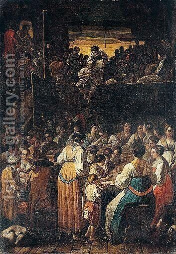 Peasants feasting at a table by Emilian School - Reproduction Oil Painting