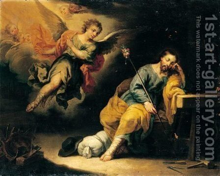 The dream of Saint Joseph by (after) Domingo Martinez - Reproduction Oil Painting