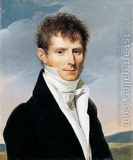 Portrait of a gentleman in a landscape by (after) Baron Francois Gerard - Reproduction Oil Painting