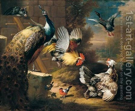 A still life of fowl, wit a cat by (after) Peter Casteels - Reproduction Oil Painting