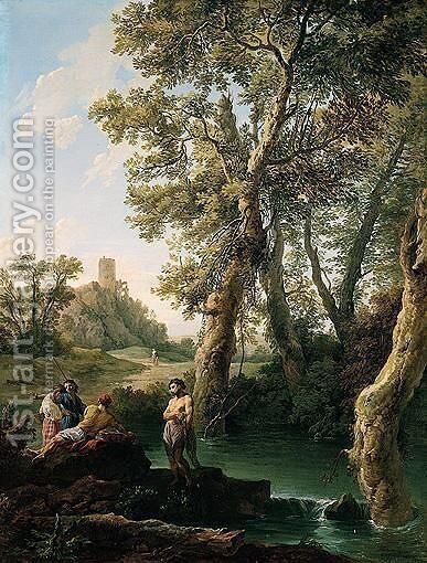 A classical river landscape with fishermen by Andrea Locatelli - Reproduction Oil Painting