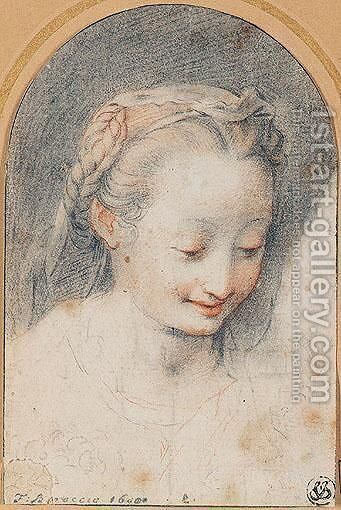 Portrait of a young girl by (after) Federico Fiori Barocci - Reproduction Oil Painting