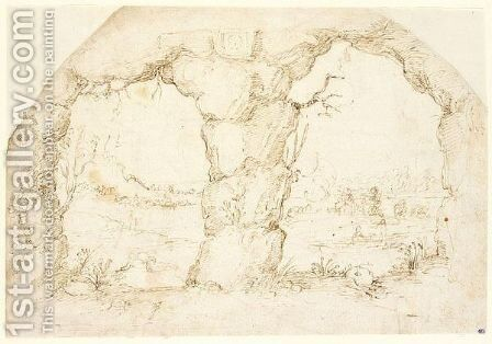 A river valley senn trough a double rock arch by Annibale Carracci - Reproduction Oil Painting