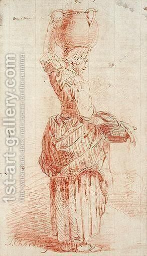 Study of woman carrying a jar on her head by (after)  Jean-Baptiste-Simeon Chardin - Reproduction Oil Painting