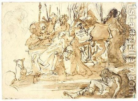 Figures in front of monument by (after) Giovanni Battista Tiepolo - Reproduction Oil Painting