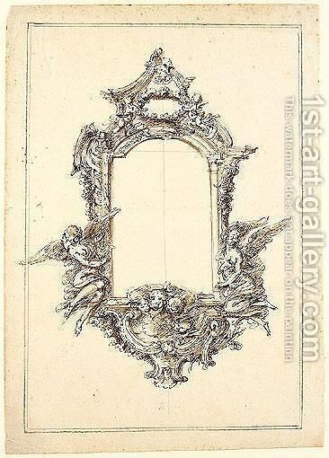 Design for a rectangular mirror frame with puttia by Giovanni Bettati - Reproduction Oil Painting