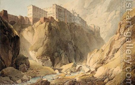 The monastery of Montserrat, near Barcelona by Giuseppe-Pietro Bagetti - Reproduction Oil Painting