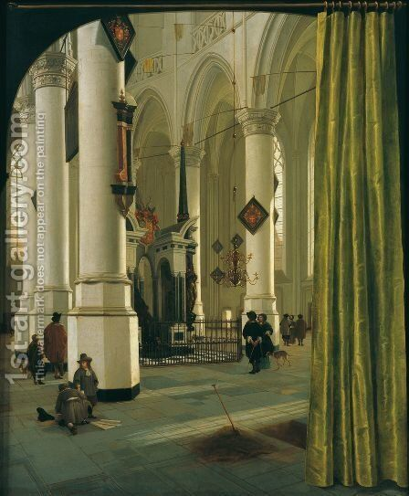 The Interior of The Nieuwe Kerk In Delft with the Tomb of William the Silent 1665 by Hendrick Van Vliet - Reproduction Oil Painting