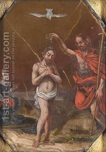 The Baptism Of Christ by Italian School - Reproduction Oil Painting