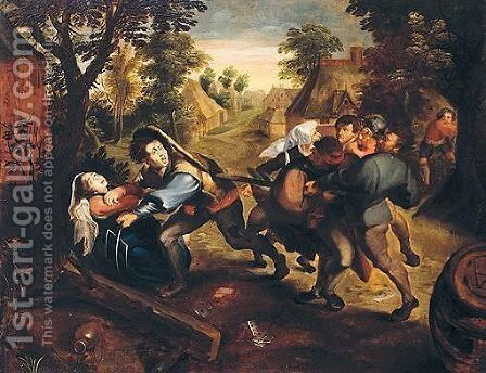 Peasants Brawling In A Landscape by (after) Pieter The Younger Brueghel - Reproduction Oil Painting