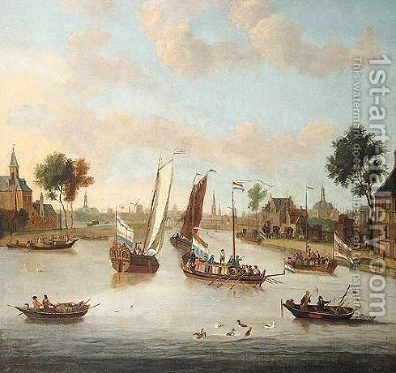 Amsterdam The River Amstel Seen From The Buiten Amstel Looking Towards The City, With A State Barge And Other Light Vessels In The Foreground by Abraham Jansz Storck - Reproduction Oil Painting