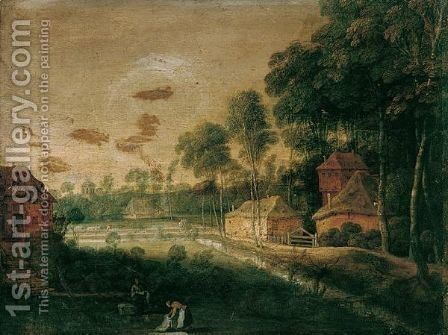 A Village Scene With Figures Bleaching Linen In The Foreground, A Waggoner Beyond by (after) Pieter Gysels - Reproduction Oil Painting