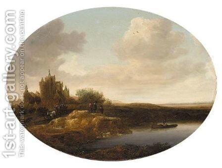 River Landscape With A Horse-Drawn Cart And Figures On A Bank, A Fisherman Nearby by Jan Coelenbier - Reproduction Oil Painting