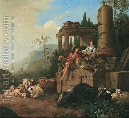Southern Landscape With A Drover And Shepherdess With Their Flocks Beside A Fountain by Johann Heinrich Roos - Reproduction Oil Painting