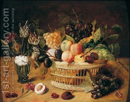 A Still Life Of A Basket Of Fruit With Flowers In A Vase by (after) Ambrosius The Younger Bosschaert - Reproduction Oil Painting