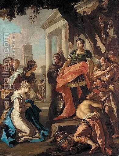 The Continence Of Scipio by (after) Giovanni Antonio Pellegrini - Reproduction Oil Painting