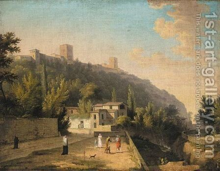 A View Of Granada With A Waterseller And Other Figures by (after) Jules Cesar Denis Van Loo - Reproduction Oil Painting