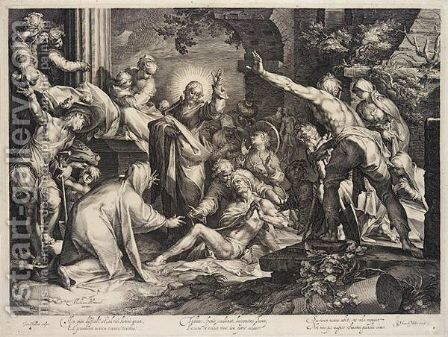 The Raising Of Lazarus (The New Hollstein 27) by Jan Muller - Reproduction Oil Painting
