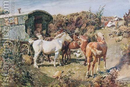 A Gypsy Camp With Horses And Hens by Sir Alfred James Munnings - Reproduction Oil Painting