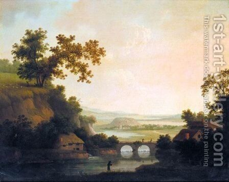 Extensive Landscape With Figures Crossing A Bridge by Nathan Theodore Fielding - Reproduction Oil Painting