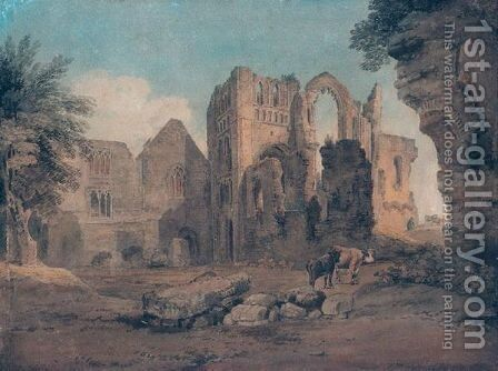 Castle Acre Monastery, Norfolk by (after) Michael Angelo Rooker - Reproduction Oil Painting