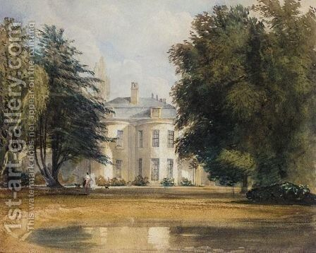 Two Ladies Strolling In The Garden Of A Country House by David Cox - Reproduction Oil Painting