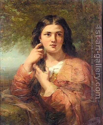 Portrait Of A Lady In The Countryside by James John Hill - Reproduction Oil Painting