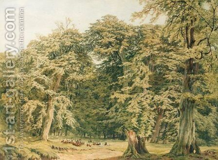 Deer In Knole Park by Charles Grant Davidson - Reproduction Oil Painting