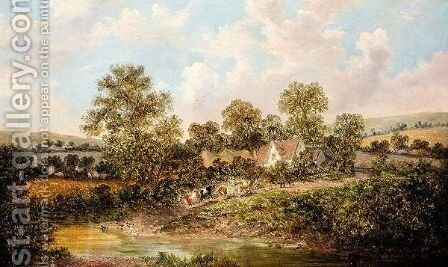 Cattle Approaching A Ford by (after) William Meadows - Reproduction Oil Painting
