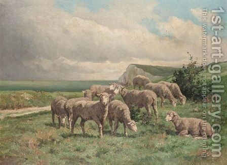 Sheep On A Clifftop by Edouard Michel Hamman - Reproduction Oil Painting